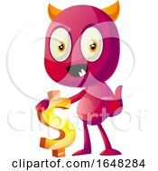Devil Mascot Character Holding A Dollar Sign