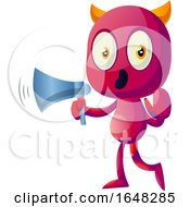 Devil Mascot Character Using A Megaphone