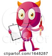 Devil Mascot Character Holding a Clipboard by Morphart Creations #COLLC1648287-0196