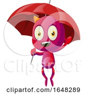 Devil Mascot Character Holding An Umbrella