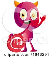 Devil Mascot Character Holding An Email Symbol