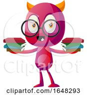 Devil Mascot Character Holding Books by Morphart Creations