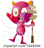 Devil Mascot Character Holding A Sign Post