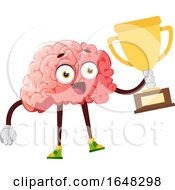 Brain Character Mascot Holding A Trophy by Morphart Creations