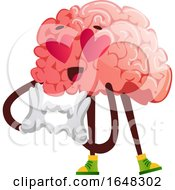 Brain Character Mascot In Love