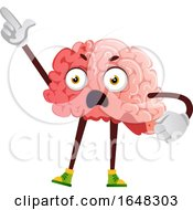 Brain Character Mascot Holding Up A Finger