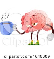 Brain Character Mascot Holding A Coffee Cup by Morphart Creations