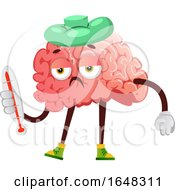 Sick Brain Character Mascot Holding A Thermometer