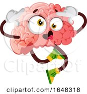 Brain Character Mascot Going Crazy
