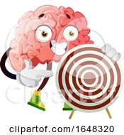 Brain Character Mascot Holding A Target