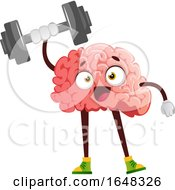 Brain Character Mascot Holding Up A Dumbbell