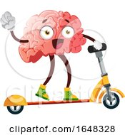 Brain Character Mascot On A Scooter by Morphart Creations
