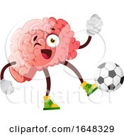 Brain Character Mascot Playing Soccer