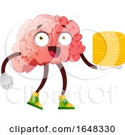 Brain Character Mascot Holding Gold Coins