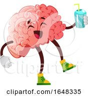 Brain Character Mascot Holding A Drink