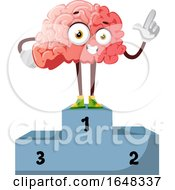 Brain Character Mascot On A Winner Podium