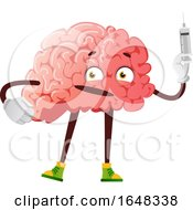 Brain Character Mascot Holding A Syringe