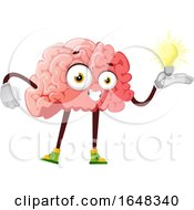 Brain Character Mascot Holding An Idea Light Bulb by Morphart Creations