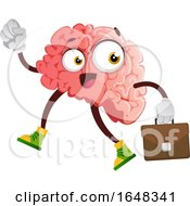 Business Brain Character Mascot Carrying A Briefcase by Morphart Creations