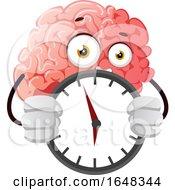 Brain Character Mascot Holding A Clock