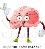 Brain Character Mascot Waving