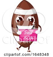 Cartoon American Football Mascot Character Holding A Sale Sign by Morphart Creations