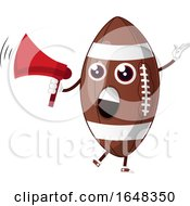 Cartoon American Football Mascot Character Using A Megaphone by Morphart Creations