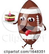 Cartoon American Football Mascot Character Holding A Birthday Cake by Morphart Creations