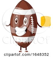 Cartoon American Football Mascot Character Holding Gold Coins by Morphart Creations