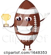 Cartoon American Football Mascot Character Holding A Trophy by Morphart Creations
