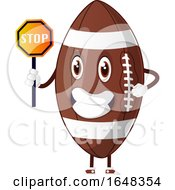 Cartoon American Football Mascot Character Holding A Stop Sign by Morphart Creations