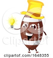 Cartoon American Football Mascot Character Holding An Idea Bulb by Morphart Creations