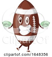 Cartoon American Football Mascot Character Holding Cash Money by Morphart Creations