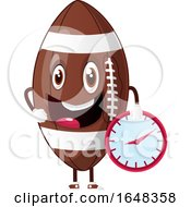 Cartoon American Football Mascot Character Holding A Clock by Morphart Creations