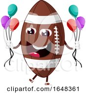 Cartoon American Football Mascot Character Holding Party Balloons by Morphart Creations