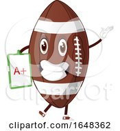 Cartoon American Football Mascot Character Holding A Good Grade