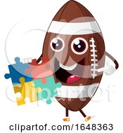 Cartoon American Football Mascot Character Holding A Jigsaw Puzzle by Morphart Creations