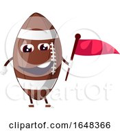Cartoon American Football Mascot Character Holding A Flag by Morphart Creations