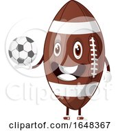 Cartoon American Football Mascot Character Holding A Soccer Ball by Morphart Creations