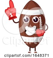 Cartoon American Football Mascot Character Wearing A Foam Finger
