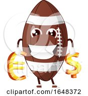 Cartoon American Football Mascot Character Holding Euro And Dollar Symbols