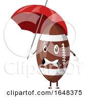Cartoon American Football Mascot Character Holding An Umbrella by Morphart Creations