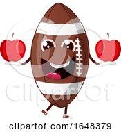 Cartoon American Football Mascot Character Holding Apples