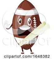 Cartoon American Football Mascot Character Holding Plans