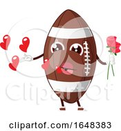 Poster, Art Print Of Cartoon American Football Mascot Character Holding Flowers And Blowing Hearts