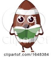 Cartoon American Football Mascot Character Reading by Morphart Creations