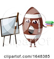 Cartoon American Football Mascot Character Holding Books By A White Board
