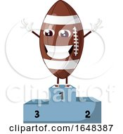 Cartoon American Football Mascot Character On A Winner Podium