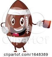 Cartoon American Football Mascot Character Holding A Coffee Cup by Morphart Creations