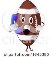 Cartoon American Football Mascot Character Talking On A Phone by Morphart Creations
